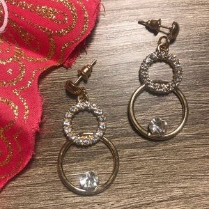 Gorgeous Gold Circle Bling Earrings
